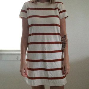 Orange Striped T-Shirt Dress